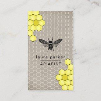 Bee Honey Seller Apiarist Rustic Brown Hexagon Business Card