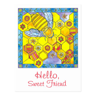 Bee Honeycomb Daisy Flowers Hello Sweet Friend Postcard