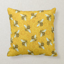 Bee Honeycomb Honeybee Beehive Pattern Cute Nature Throw Pillow