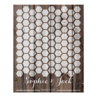 bee honeycomb signature wedding guest book wood poster