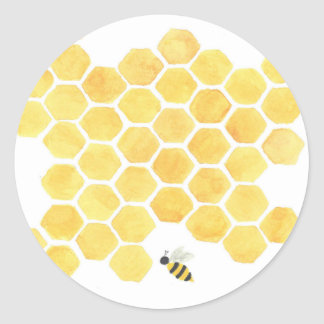 Bee honeycomb yellow sticker