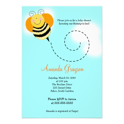 Bee Hop Bumble Bee Baby Shower #2 Invitation 5x7