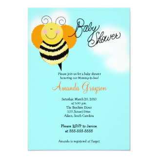 Bee Hop Bumble Bee Baby Shower Invitation 5x7