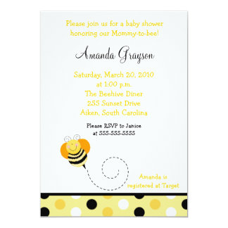 Bee Hop Bumble Bee Baby Shower Invitation 5x7