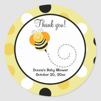 Bee Hop Bumble Bee Round Favor Sticker - Polkadot