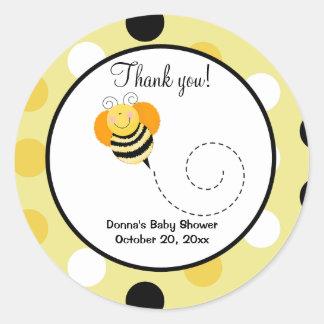 Bee Hop Bumble Bee Round Favor Sticker - Polkadot
