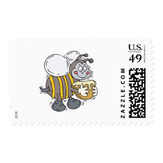 bee hugging honey postage