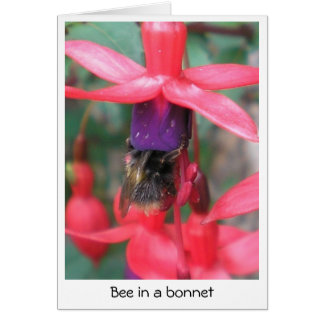 Bee in a bonnet card