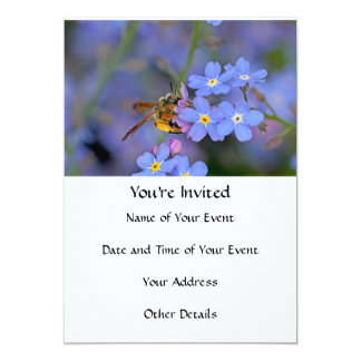 Bee in Forget Me Nots Flowers Card