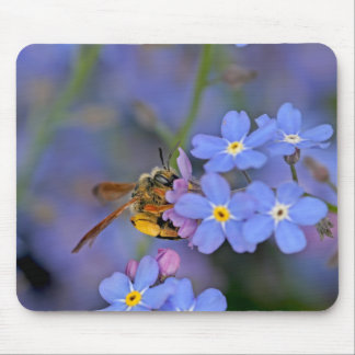 Bee in Forget Me Nots Flowers Mouse Pad