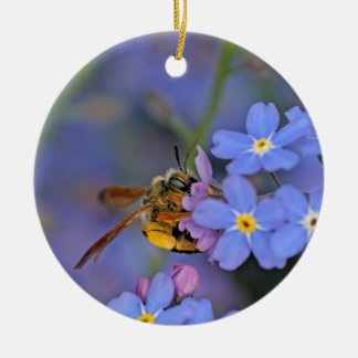 Bee in Forget Me Nots Flowers Christmas Ornament
