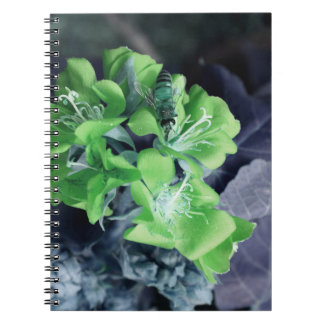 bee in green multiple flowers colorized note book