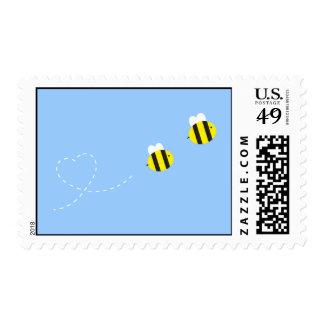 Bee in Love Postage Stamp