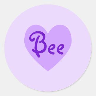 Bee in Purple Classic Round Sticker