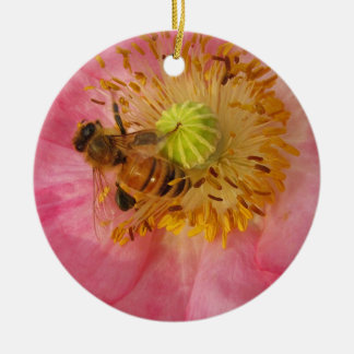 Bee in the Poppy Ornaments