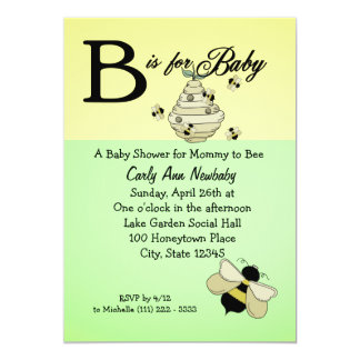 Bee is for Baby Shower 5x7 Paper Invitation Card