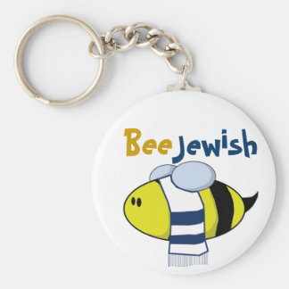 """""""Bee Jewish"""" Keychains"""