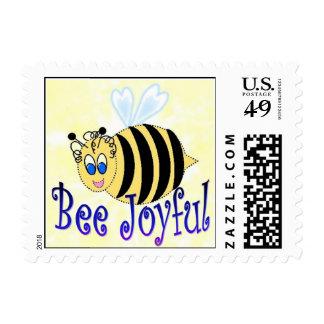 Bee Joyful Postage Stamp Joyous Cartoon To Inspire