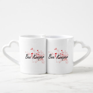 Bee Keeper Artistic Job Design with Hearts Couples' Coffee Mug Set