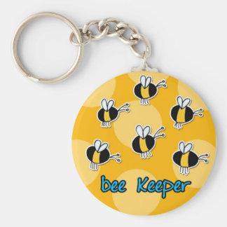 bee keeper basic round button keychain