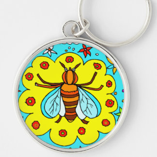 BEE KEEPER DESIGN Silver-Colored ROUND KEYCHAIN