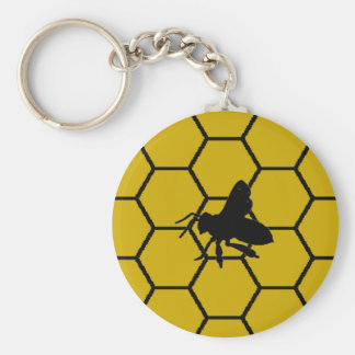 Bee Keeper Gifts Unique Honeycomb Design Basic Round Button Keychain