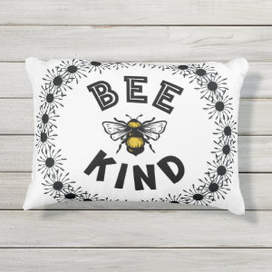Bee Kind Bumble Bee Kindness Floral Design Outdoor Pillow