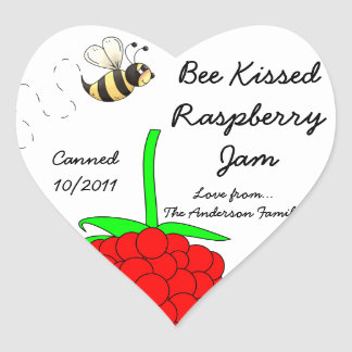 Bee Kissed Raspberry Jam Jar Label (Customize) Heart Stickers