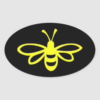 Bee (lemon colored) oval sticker