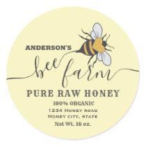 Bee logo script bee farm honey jar label