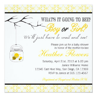 Bee Mason Jar Baby shower invitation