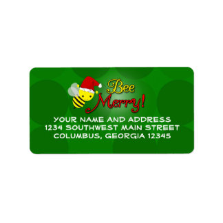 Bee Merry, Cute Bumblebee Holiday Label