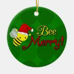 Bee Merry, Cute Bumblebee Holiday Christmas Tree Ornaments