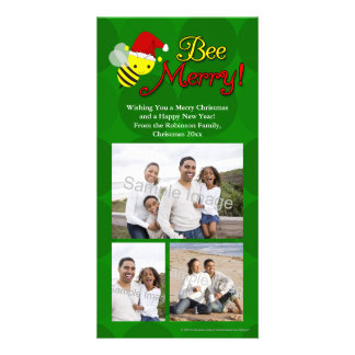 Bee Merry, Cute Bumblebee Holiday Photo Greeting Card