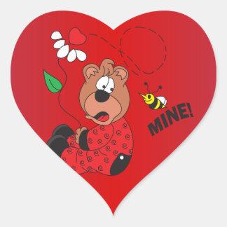 Bee Mine Bear Heart Party Stickers