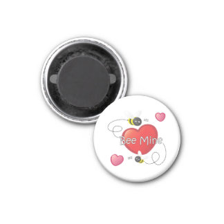 Bee Mine - Bees and Hearts 1 Inch Round Magnet