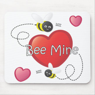 Bee Mine - Bees and Hearts Mouse Pad