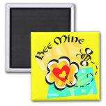 Bee Mine Bumblebee Heart Flower Fridge Magnet