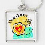Bee Mine Bumblebee Heart Flower Key Chains
