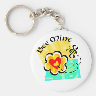 Bee Mine Bumblebee Heart Flower Keychain