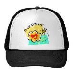Bee Mine Bumblebee Heart Flower Mesh Hats