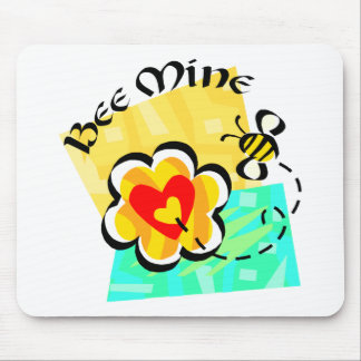 Bee Mine Bumblebee Heart Flower Mouse Pad
