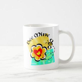 Bee Mine Bumblebee Heart Flower Classic White Coffee Mug