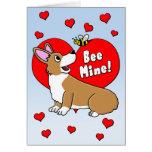 Bee Mine Corgi Valentine's Day Card
