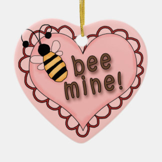Bee Mine Heart Ceramic Ornament