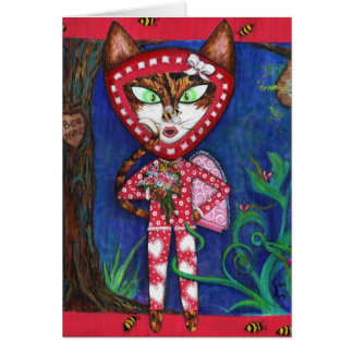 BEE MINE Kitty Valentine's Fine Art Note Card