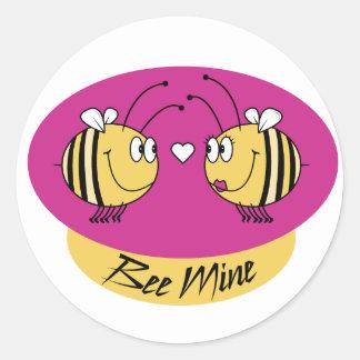 Bee Mine Round Sticker