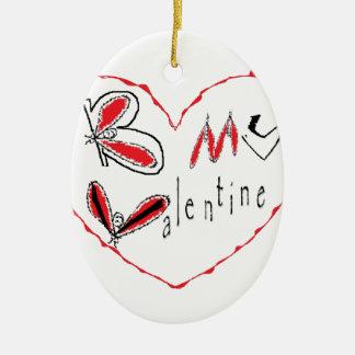 Bee my valentine ceramic ornament