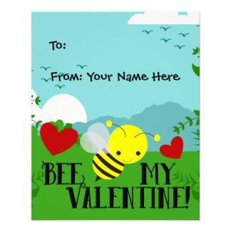 Bee My Valentine Cute Garden Kids Boys Classroom Flyer