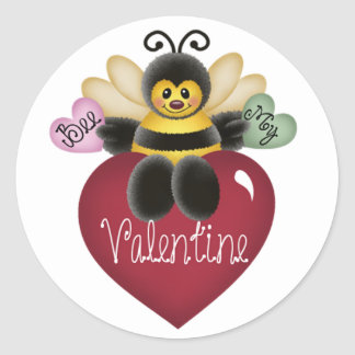 Bee My Valentine Honey Bee Stickers